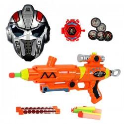 3317 三用安全軟彈槍(吸盤彈+軟彈+BB彈)(附戰士面具+腕帶發射器) (無法超商取貨)