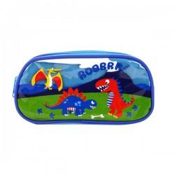 恐龍加大版亮面雙層雙拉鍊筆袋(授權)