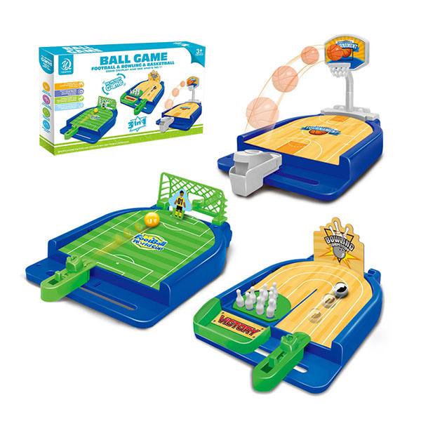 3合1桌上彈球競賽遊戲組(足球/籃球/保齡球) (無法超商取貨)