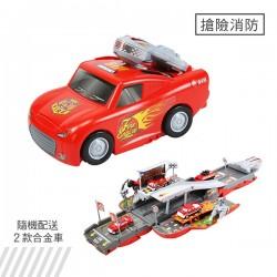 聲光變形大台紅色消防跑車(打開變彈射軌道收起變大跑車)(6015A)