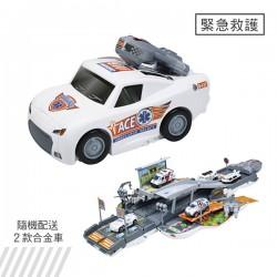 聲光變形大台白色醫護跑車(打開變彈射軌道收起變大跑車)(6015D)
