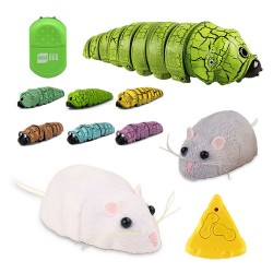 紅外線遙控仿真逗貓玩具動物(老鼠/毛毛蟲)(授權)