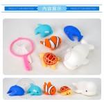 5入海洋動物洗澡玩具啾啾(大白鯨版)(附撈網)(安全漆ST401)