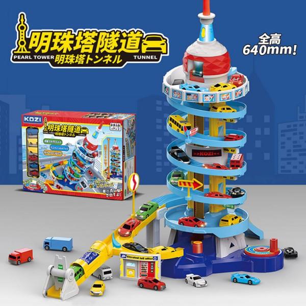 903C 明珠塔旋轉升降停車場模型組(高64公分手動昇降)(附6入小汽車) (無法超商取貨)