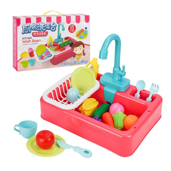 兒童精緻超仿真廚房洗菜流理台家家酒(模擬循環出水)(9173)