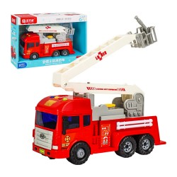 IC音樂紅白消防折疊噴水雲梯車(有噴水功能)(摩輪超會跑)(9826)