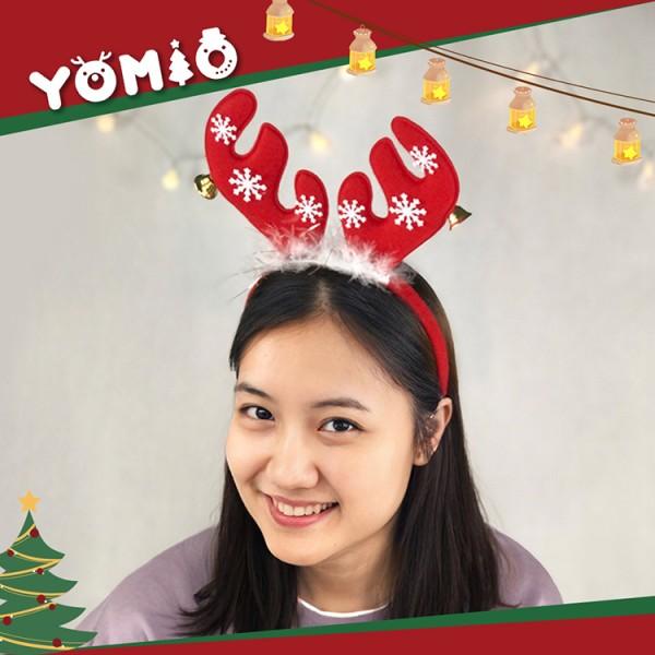 短版麋鹿角聖誕造型髮箍(帶羽毛+鈴噹+雪花)(大人小孩皆可戴)