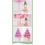 60公分夢幻粉色系粉紅色聖誕樹(配件+LED40燈暖白燈串附電池)