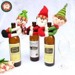 聖誕裝飾中人偶抱紅酒瓶口(香檳酒套)(多款可以挑選)(居家餐廳佈置)